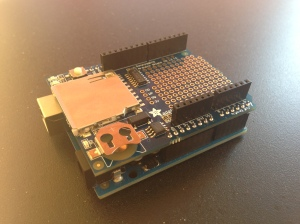 Data Logger Shield Soldered with header and connected to Arduino