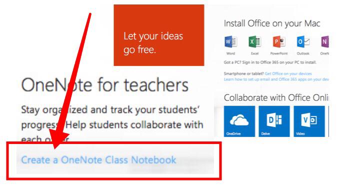 Click Create a OneNote Class Notebook